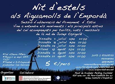 NITS D' ESTELS AL PARC NATURAL DELS AIGUAMOLLS DE L'EMPORD'A ESTIU 2015 ORGANITZA: EMPORDÀBRAVA TEL RESERVES 972451435/688331094 RESERVES@EMPORDABRAVA.NET