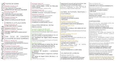 Programa d'actes Ajuntament de Peralada Estiu 2015